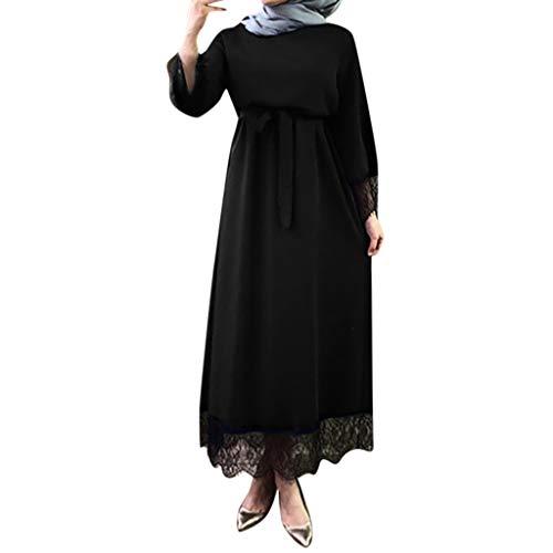 AIni Damen Muslimische Kleider,Elegante 2019 Abaya Dubai Ramadan Marokkanischen Muslimischen Kleid Turkey Beten Muslim Abendkleid Hochzeit Abaya Festlich Partykleid(M,Schwarz)