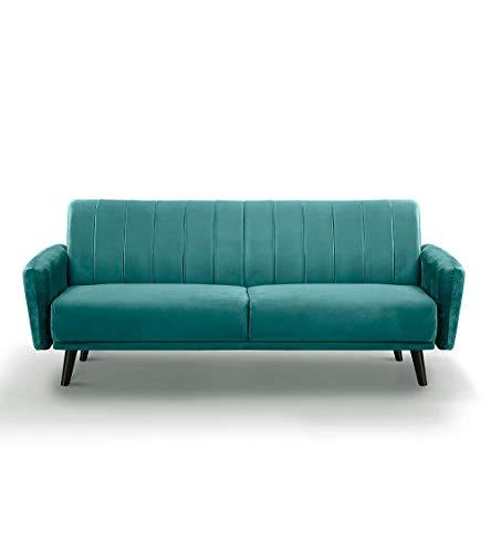 Home Heavenly- Sofá Ivan, Elegante sofá tapizado en Terciopelo Velvet de Color Verde con Patas Negras 212 cm X 80 cm X 85 cm