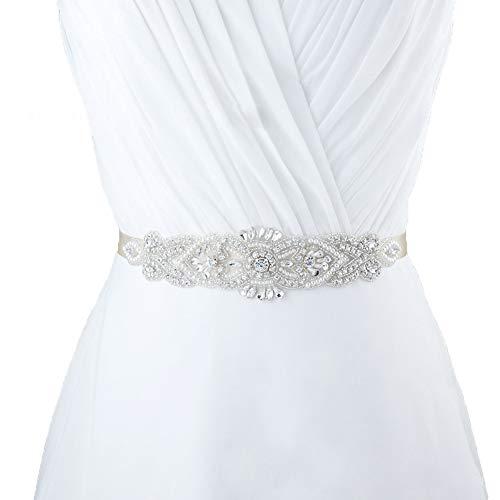 SEALEN Cinturón de Boda Cinturón Nupcial para Mujer Cinturón de Diamantes de Imitación de Cristal para Vestido de Novia