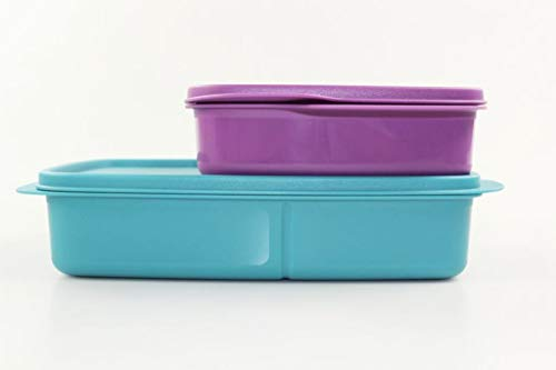 Tupperware to Go Lunchbox 1L dunkeltürkis+550 ml lila mit Trennwand Brotbox 35113