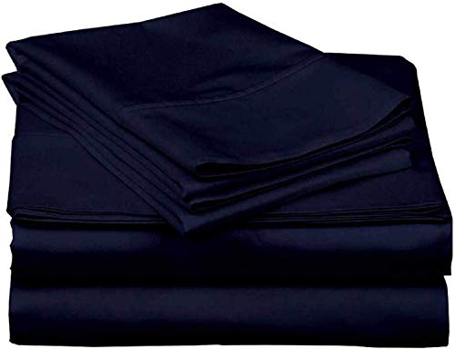 Cotton Bed Sheet Set 4 PC, 100% Long-Staple Combed Cotton, 400 Thread Count ,Breathable, Soft & Silky Sateen Weave Fits Mattress with 40 CM Deep Pocket, Navy Blue Solid Solid - Super King Size