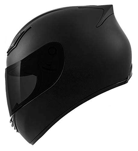 GDM DK-120 Full Face Motorcycle Helmet - Matte Black, Medium (Clear & Tinted Shields)