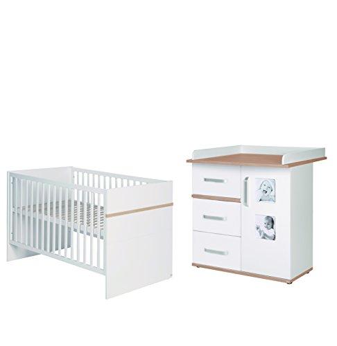 roba 60991-60971 Bett-Wickelkommoden-Kombinatio 'Pia' Sparset bestehen aus Kombi-Kinderbett und schmaler Wickelkommode