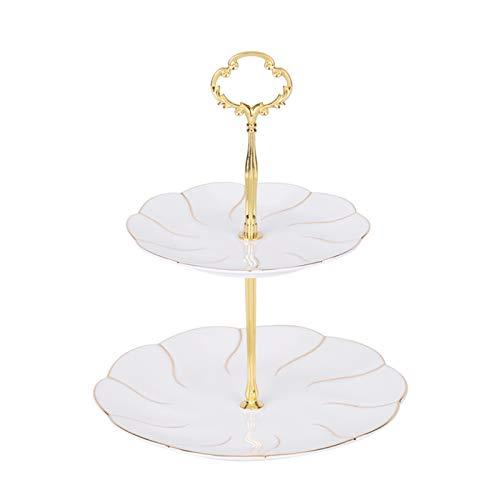 Cerámica de estilo europeo simple placa de fruta de doble capa placa de pastelería Placa de postre Pastel de pastel de postre Pantalla de tabla Tiempo dulce para la fiesta de té de la tarde
