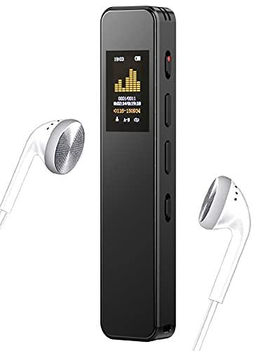 16GB Registratore vocale digitale professionale,registratore vocale con funzione MP3,supporta la registrazione e il salvataggio con un clic,ricaricabile tramite USB,altoparlante incorporato
