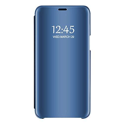 Samsung Galaxy S7/S7 Edge Sottile Chiaro Specchio Stand Protezione S-View Flip Cover (Blu, Galaxy S7 Edge)