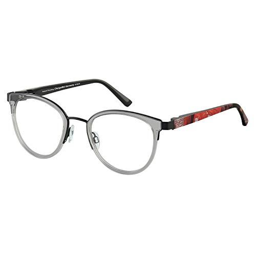 Change Me runde Brille 2530-2 mit Wechselbügel 8748-8 grau rot
