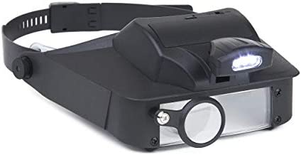 Carson LumiVisor Head Magnifier - Head Visor with LED Lighted Magnifier (2x/3x/5x/6x) (LV-10) , Black