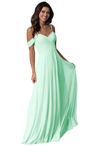 Women's Off The Shoulder Chiffon Long Plus Size Bridesmaid Dress A Line Wedding Prom Dress Pleated Bodice Mint Green Size 18W