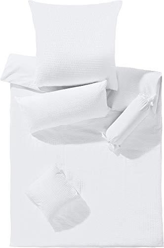 Erwin Müller Bettwäsche-Set Seersucker Uni, Bettbezug, Kissenbezug weiß, Größe 135x200 cm (80x80 cm) - temperaturausgleichend, bügelfrei, mit Reißverschluss (100% Baumwolle)