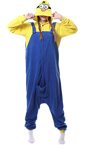 Kafferin Sleepwear Unisex Adult Costume Cartoon Cosplay Party Nightgowns Pajamas Onesies (Small, Style-Minions)