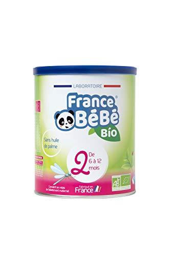 FRANCE BéBé BIO - Lait infantile de suite bébé 2ème âge en poudre - Lait fabriqué en France - 13 Vitamines 12 Minéraux - 400g