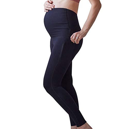 Maternidad Yoga Leggings con Bolsillo Pantalón con Cintura Elástica Cinturón para Barriga Premamá Verano Deportivas Polainas Embarazo Color Sólido Pantalones Largos S M L XL XXL XXXL