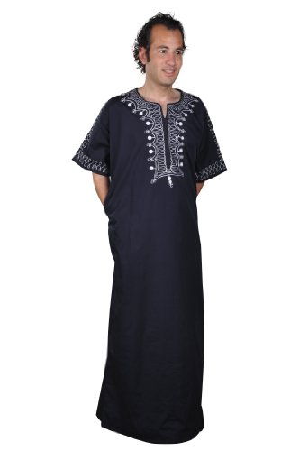 Egypt Bazar Egypt Bazar Moderner Herren-Kaftan, Nachtblau/weiß ((64) 3XL)