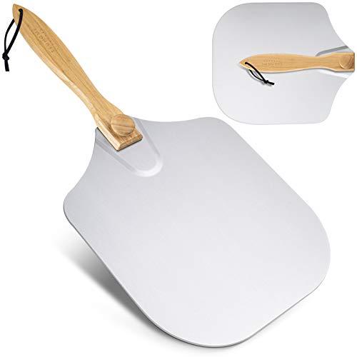 LEOHOME Aluminium Pizzaschieber für den Grill & Ofen, Pizzaschaufel mit klappbarem Griff aus Holz zum einfachen Verstauen, Gesamtlänge 60.5cm