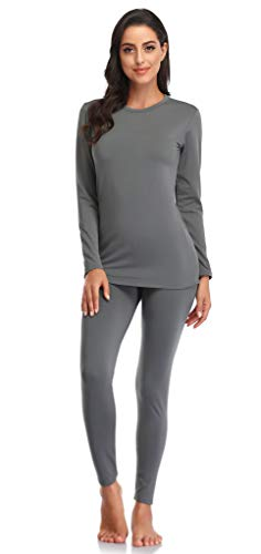 WEERTI Thermal Underwear for Women Long Johns Women with Fleece Lined, Base Layer Women Cold Weather Top Bottom(Grey M)