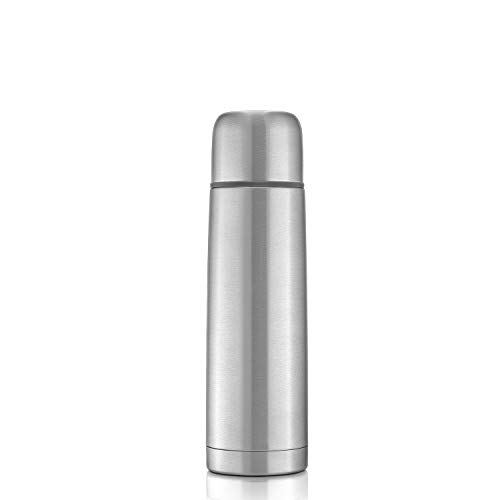 reer Edelstahl Isolier-Flasche PURE, 500ml – klein, handlich, ideal fürs Baby, mit integriertem Becher, silber