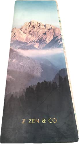 ZEN&CO Yoga Mat - Premium 4MM Print Suede & Eco-Friendly Natural Rubber Non Slip Exercise & Fitness Mat for Yoga, Pilates, Bikram, Ashtanga & Workouts (183cm x 61cm x 4mm) (mountain)