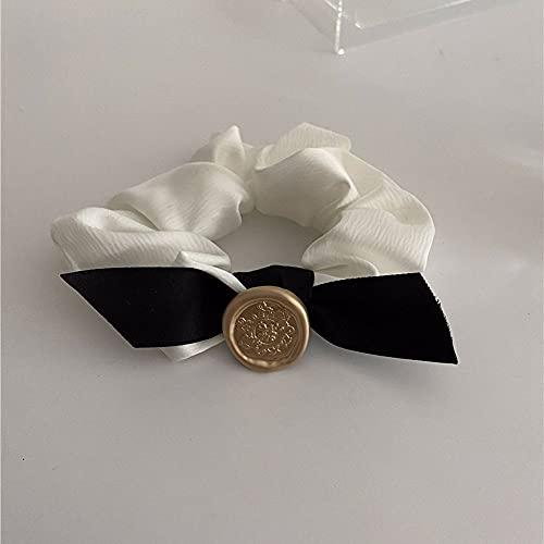 Dulce retro pequeña fragancia mujeres coleteros metal Francia arco cuerda de pelo femenino lazos de pelo banda de goma ponytail Holder(blanco)