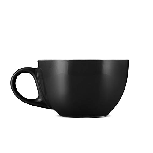 Espresso Parts Porcelain Cappuccino Cups W/Saucers (6oz) (BLACK, 6)
