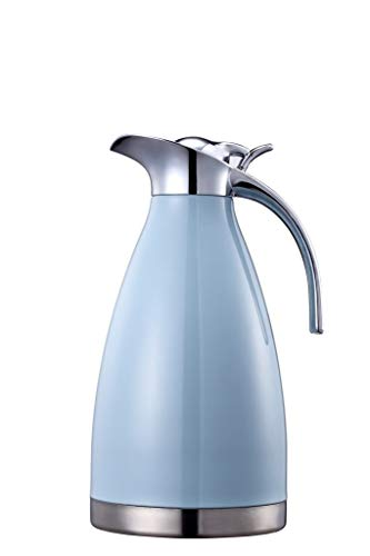 Bonnoces 68 Oz Stainless Steel Thermal Carafe - Double Walled Vacuum Insualted Thermos/Carafe with Lid - Coffee/Tea Carafe Heat & Cold Retention - 2 Liter
