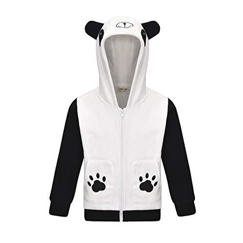 Dgfstm Abrigo con Capucha para niños y niñas de 3 a 8 años, diseño de Oso Panda de Cerdo Rosa Panda 140 cm (7-8 Años)