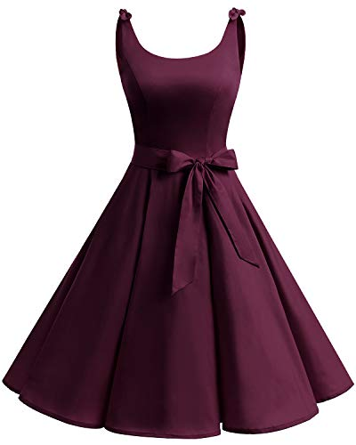 Bbonlinedress 1950er Vintage Polka Dots Pinup Retro Rockabilly Kleid Cocktailkleider Burgundy 2XL