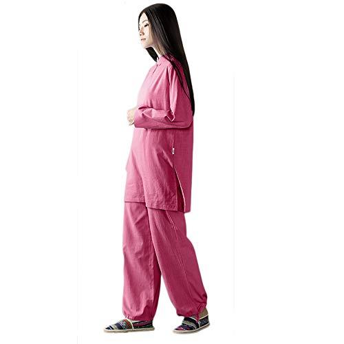 KSUA Damen Tai Chi Uniform Zen Meditations Anzug Chinesische Kung Fu Kleidung Baumwolle (Rose, EU L)