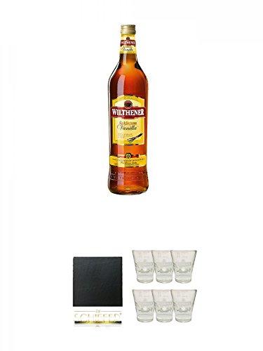 Wilthener Goldkrone Weinbrand mit Vanilla 0,7 Liter + Schiefer Glasuntersetzer eckig ca. 9,5 cm Durchmesser + Wilthener Shotglas 6 Stück