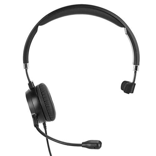 DAUERHAFT Auriculares de teléfono Auriculares de Operador telefónico Almohadilla Suave para los oídos USB Chat Transparente Ajustable, para tráfico telefónico Centro de Llamadas, para Llamar al