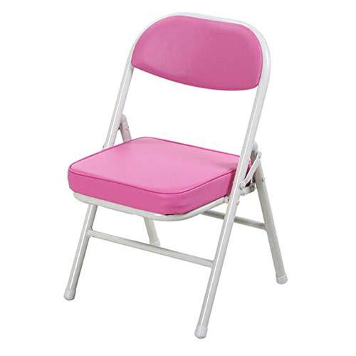 QIDI Chaise Pliante, Tabouret Pliant, Chaise d'ordinateur, Chaise Longue, Cuir, Pliable Facile à Transporter - à Deux Charges - Multicolore en Option (Couleur : Pink)