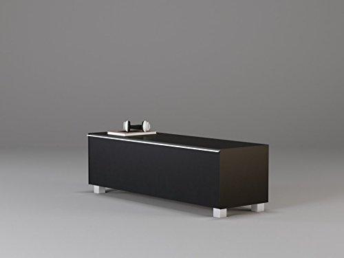 moebel-dich-auf TV-Board Soundboard Maja 7736 Soundconcept Akustikstoff schwarz in 140x43x42cm oder 180x43x42cm (140, Schwarzglass)