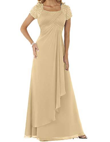 HUINI Abendkleider Chiffon Lang Brautmutterkleider Hochzeitskleider Empire Ballkleider Kurzarm Festkleider Champagne 44