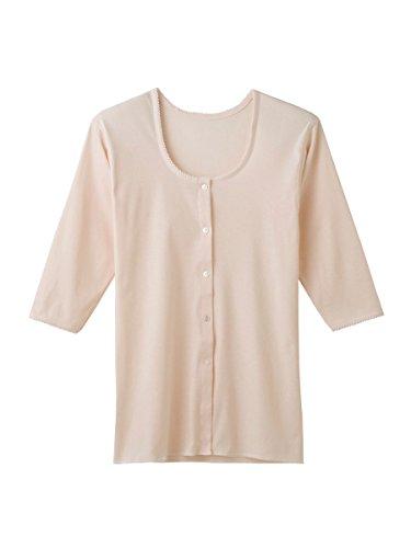 快適工房 婦人 7分袖ボタン付き 前開きシャツ (VE)カームベージュ M kh5034
