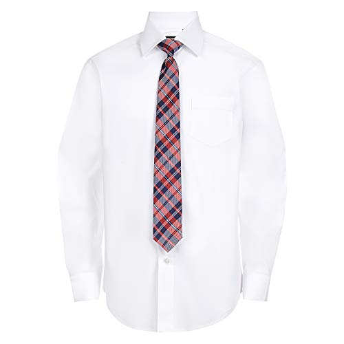 Chaps Boys' Big Long Sleeve Dress Shirt with Matching Tie, White, Medium (10/12)