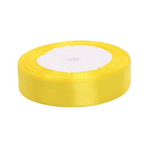 Kentop - Cinta de satén con lazo para regalo, cinta de seda satinada, cinta decorativa para bodas (amarilla)