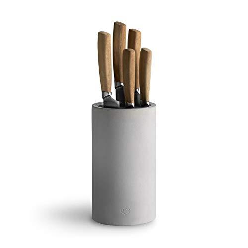 Bloc de Couteaux Universel en Béton, Rangement des Couteaux de Cuisine, Porte-couteaux - Bloc à Couteaux + Set de Couteaux 5 pcs.