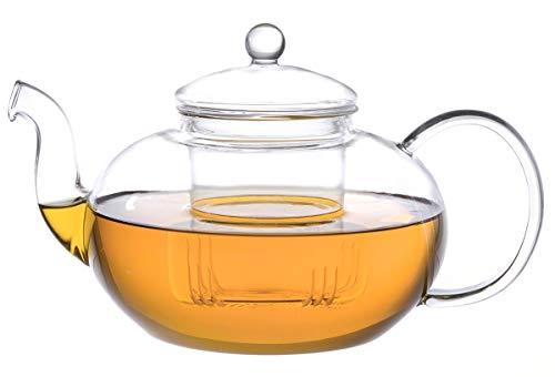 Aricola Glas-Teekanne Melina 1,8 Liter mit Glassieb. Aus hochwertigem Borosilikatglas.