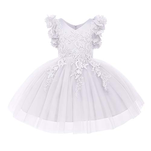 Girls Flower Ruffle Flutter Tutu Dress Lace Bridesmaid Wedding Party Pageant A Line Tulle Dress for Toddler Kids Princess First Communion Birthday Puffy Tulle Prom Ball Gowns White 2-3 Years