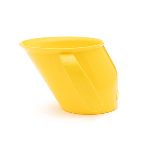 Doidy Cup - Training Sippy Cups for Toddlers & Babies - Unique Slanted Design Two Handles Baby Beaker - Great Weaning Cup for Milk, Water & Juice - Use from 3-6 Months to Toddler (Yellow)