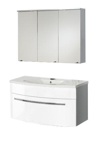 Java Exclusiv 54065 Waschplatz-Set Kasai alufarben, hochglanz bestehend aus Spiegelschrank, weiß