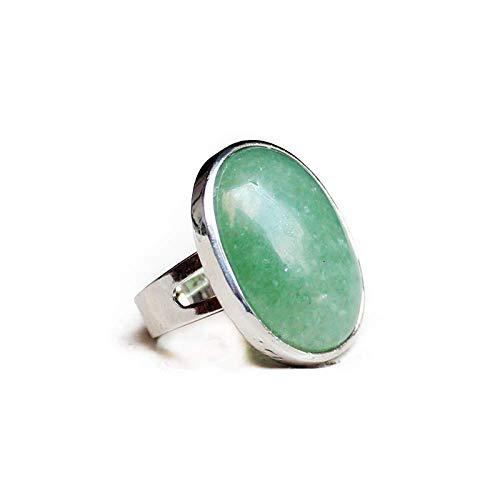 Gflyme Anillo abierto para mujer, ajustable, simple, elegante, ovalado, verde, aventurina, anillo de piedra, unisex, joyería de plata, regalos para bodas, graduación, cumpleaños, promesa de cumpl