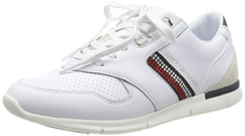 Tommy Hilfiger Crystal Lightweight Sneaker, Zapatillas para Mujer, White Ybs, 40 EU