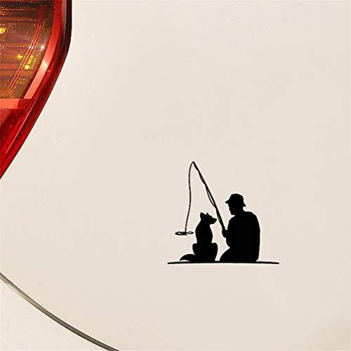 Aufkleber fürs Auto, 16,9 cm x 15,6 cm, Angler mit Hund, Haustier, Angeln, lustig, Deko, Autoaufkleber für Auto, Laptop, Fenster
