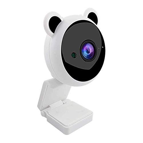 1080P Webcam with Noise Reduction Microphone,USB 2.0 Computer Camera for Live Streaming,Video Calling,Recording,Cute Cartoon Webcam for Kids Online Class (White)