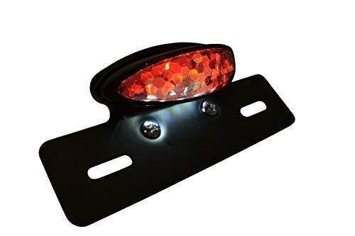 WASTUO Universal Negro anodizado de aluminio 10w de la lente roja trasera LED integrado parada del freno de licencias que ejecuta Placa de luz de l/ámpara de crucero Bobber Chopper moto scooter De la bici de la suciedad