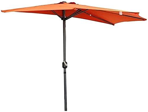 XHPC Sombrilla de jardín, jardín al Aire Libre PP 2,7 m (9 pies) Mitad de sombrilla de balcón de jardín semicircular con manivela, Parasol semirredondo Circular para Patio al Aire Libre
