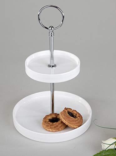 formano Etagere rund 2tlg. 23cm Brilliant-Weiss Schlichtes Design aus Weiss-glasiertem Porzellan, D:23cm + 15cm