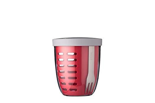 MEPAL Ellipse - Bote para fruta y verdura con colador y tenedor. Color Nordic Red