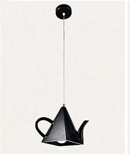 Moderne hanglamp in de vorm van een creatieve theepot voor woonkamer slaapkamer café hars kunst hanglamp Home Deco LED zwart enkele kop